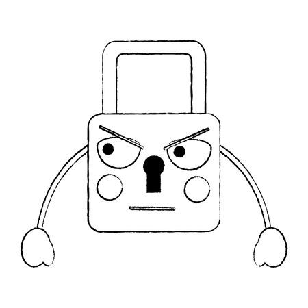 safety lock angry emoji icon image vector illustration design  black sketch line Illustration
