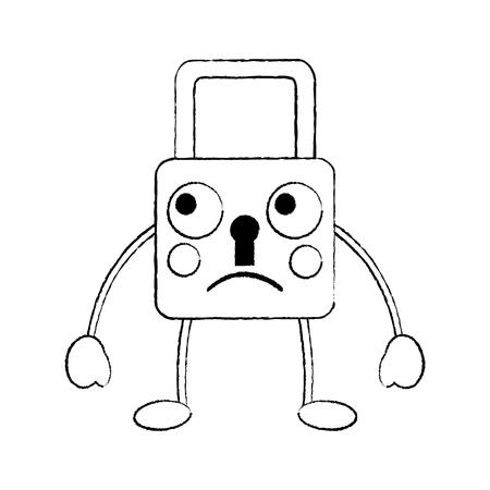 safety lock sad emoji icon image vector illustration design  black sketch line