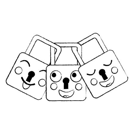 safety locks emoji icon image vector illustration design  black sketch line