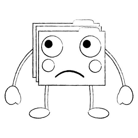 file folder sad emoji icon image vector illustration Illusztráció