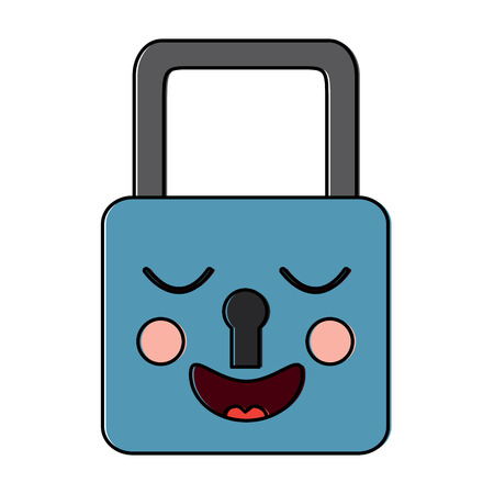 safe secure padlock kawaii character vector illustration