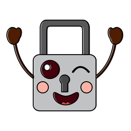 safe secure padlock kawaii character vector illustration