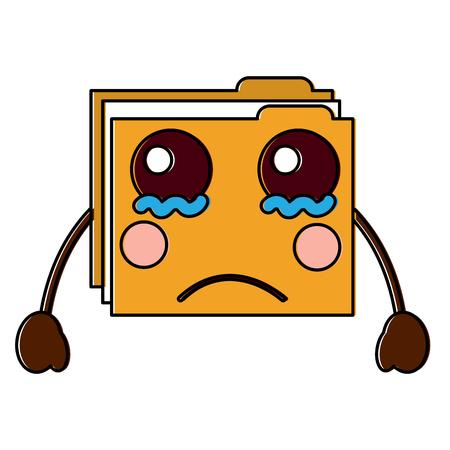 folder file document kawaii character vector illustration
