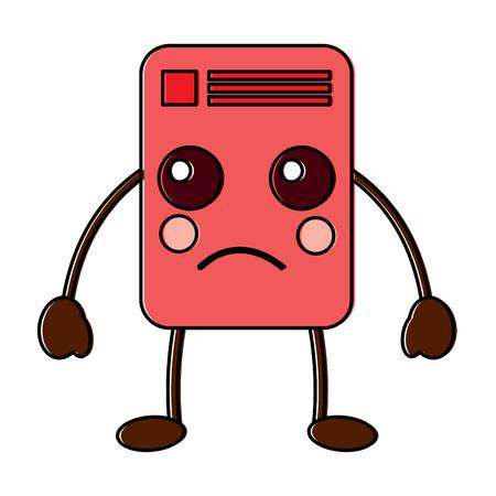 document sad emoji icon image vector illustration design