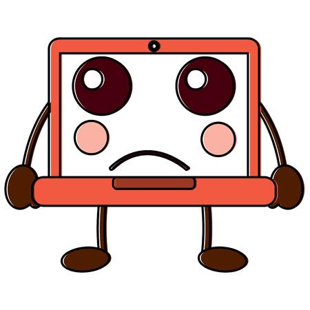 laptop computer sad  emoji icon image vector illustration design