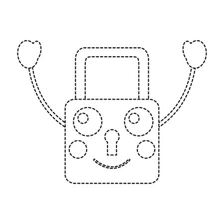 safe secure padlock kawaii character vector illustration sticker design