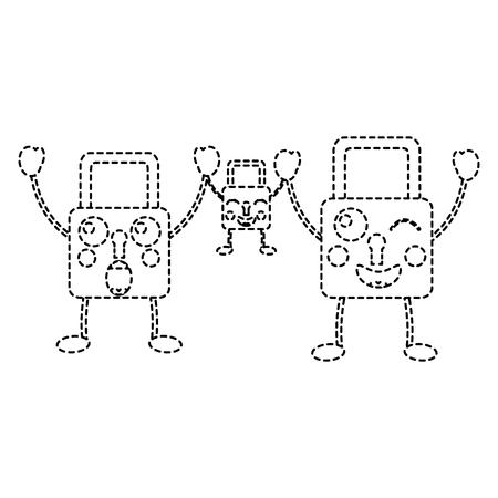 set security padlock kawaii cartoon vector illustration sticker design