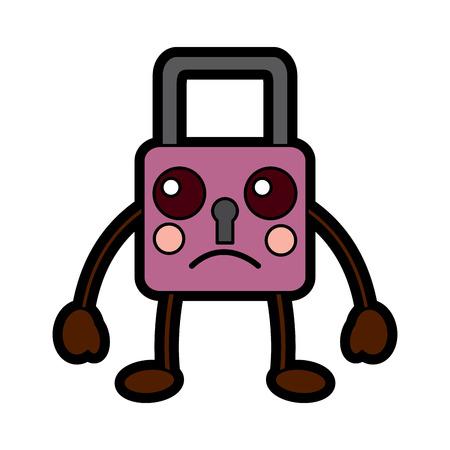 safety lock sad emoji icon image vector illustration design Иллюстрация