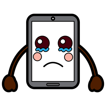 cellphone sad  emoji icon image vector illustration design