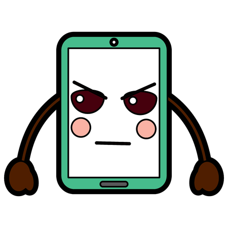 cellphone angry  emoji icon image vector illustration design