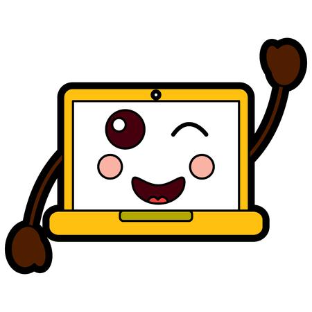 laptop computer wink emoji icon image vector illustration design
