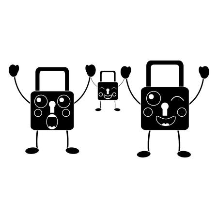 set security padlock kawaii cartoon vector illustration