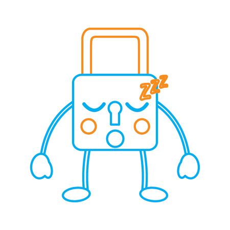 安全ロック睡眠絵文字アイコン画像ベクトル図