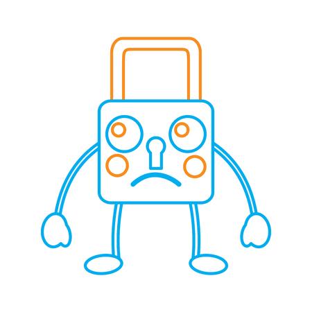 safety lock sad emoji icon image vector illustration design Ilustrace