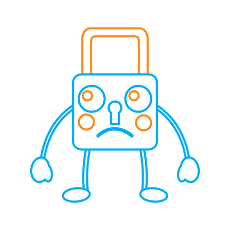 safety lock sad emoji icon image vector illustration design Illustration