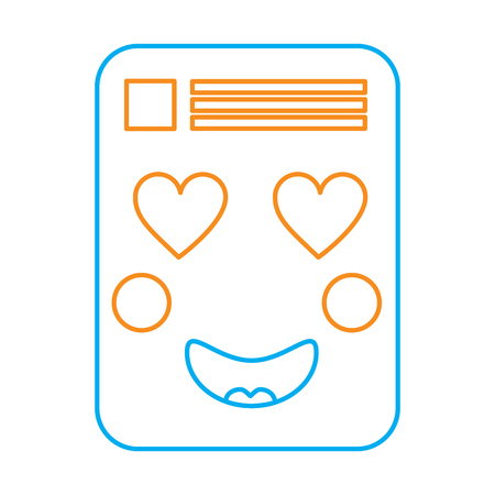 document heart eyes emoji icon image vector illustration design  orange and blue line