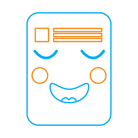 document happy  emoji icon image vector illustration design  orange and blue line Illustration