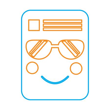 document sunglasses emoji icon image vector illustration design  orange and blue line Stock Vector - 95917701