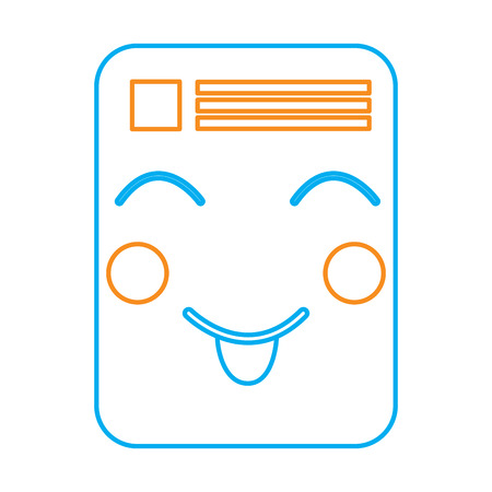 document happy  emoji icon image vector illustration design  orange and blue line Stock Vector - 95917706