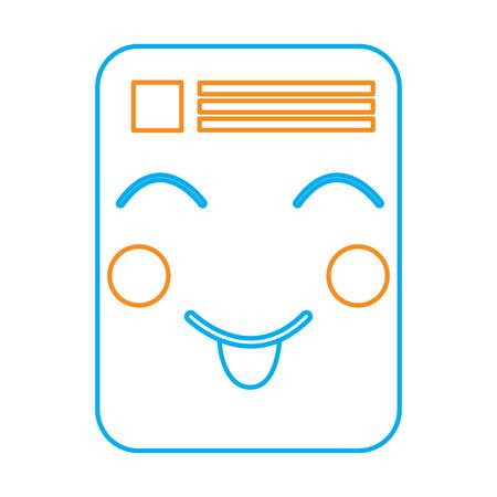 document happy  emoji icon image vector illustration design  orange and blue line Illustration