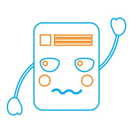 document angry  emoji icon image vector illustration design  orange and blue line