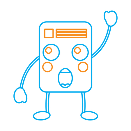 A document emoji icon image vector illustration design orange and blue line