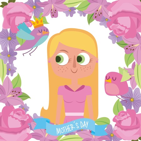 cute blonde woman floral border birds flowers mothers day vector illustration Illustration