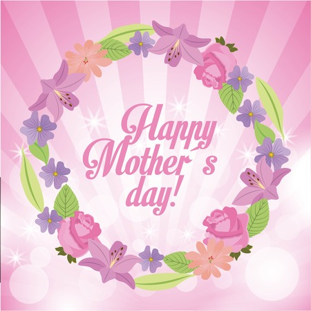 happy mothers day weath flowers bright lights background vector illustration
