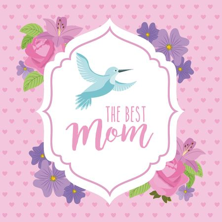 Vintage label bird fly and flowers decoration romantic best mom vector illustration.
