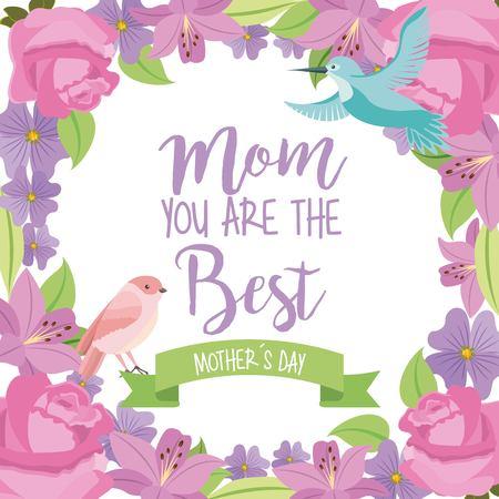 mom the best mothers day bird ribbon flowers frame decoration vector illustration Illustration