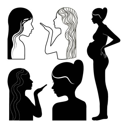 silhouette womens profile pregnant kiss set vector illustration Reklamní fotografie - 95910882