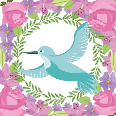 green bird flying wreath flowers decoration vector illustration Illustration