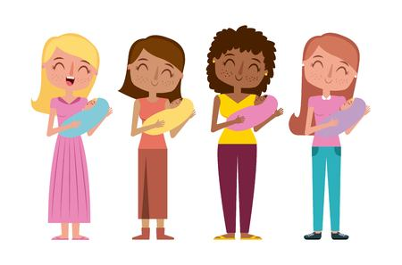 happy womens honding a her babies vector illustration