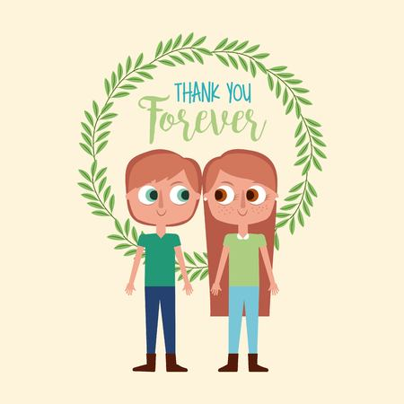 cute boy and girl thank you forever wreath leaves decoration vector illustration