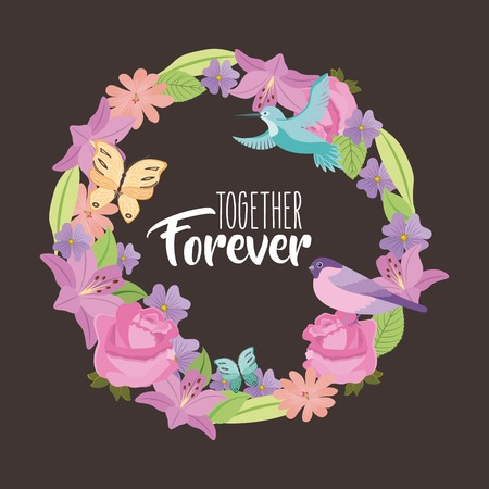 together forever weath flowers bird butterfly black background vector illustration