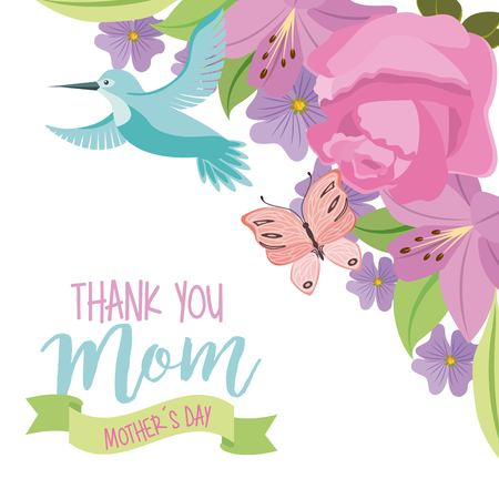 thank you mom mothers day fly bird and butterfly flowers ornament vector illustration