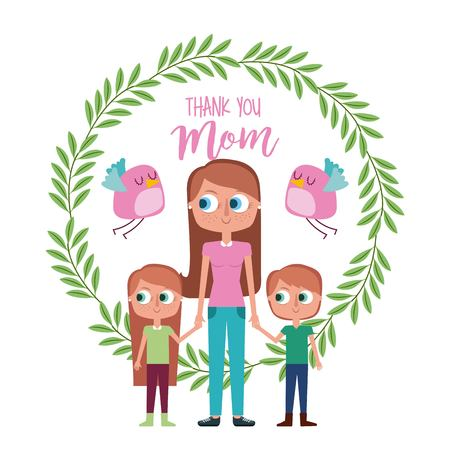 woman with child wreath floral bird- thank you mom card vector illustration