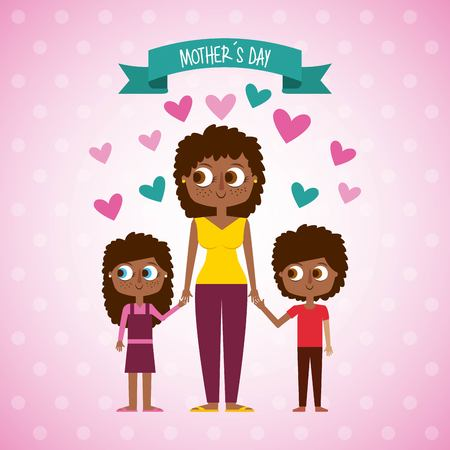 cute afro american woman and kids mothers day vector illustration
