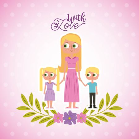 blonde mother holding her childs with love card floral decoration vector illustration