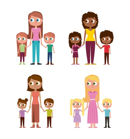 collection of womens and kids happy together vector illustration