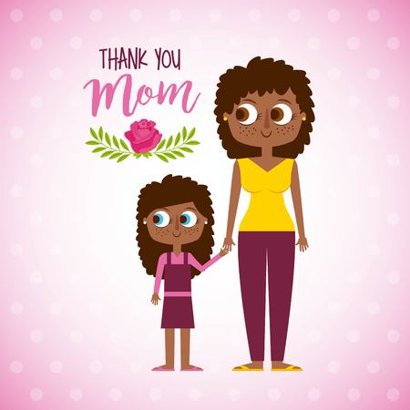 happy afro woman and daugther - thank mom vector illustration
