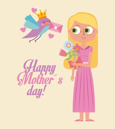 cute bird giving message a happy woman mother day card vector illustration