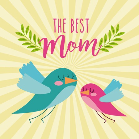 the best mom cute flying birds card icon vector ilustration Illustration