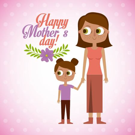 mom and daugther together happy mothers day vector illustration