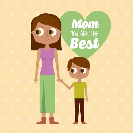 mom you are the best greeting card mother and son together vector illustration Illustration