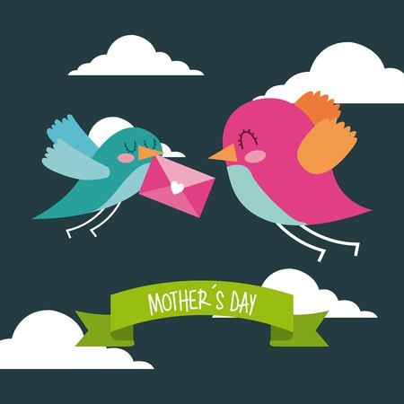 cute birds flying with envelope in beak mothers day message icon vector ilustration Illustration