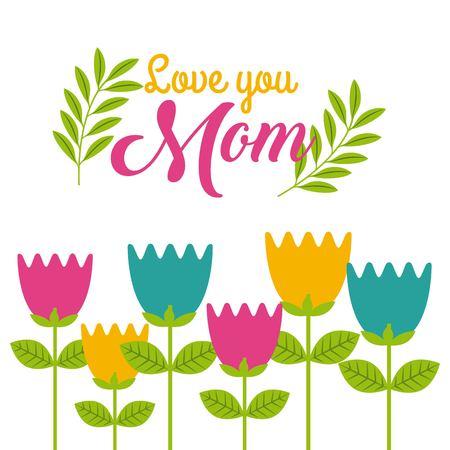 cartoon cute tulips flowers love you mom icon vector ilustration