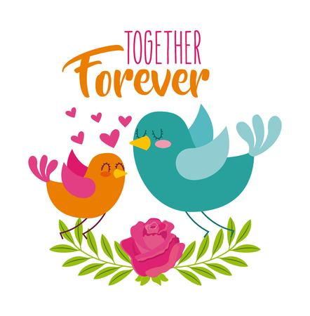 together forever birds love hearts flower icon vector ilustration
