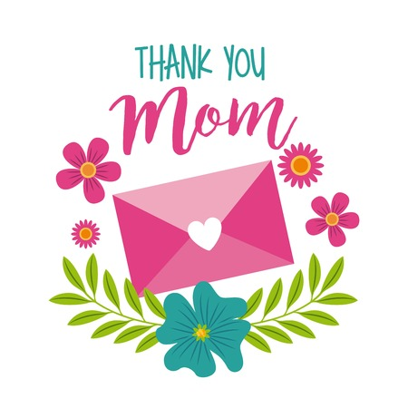 thank you mom message envelope floral decoration icon vector ilustration Illustration
