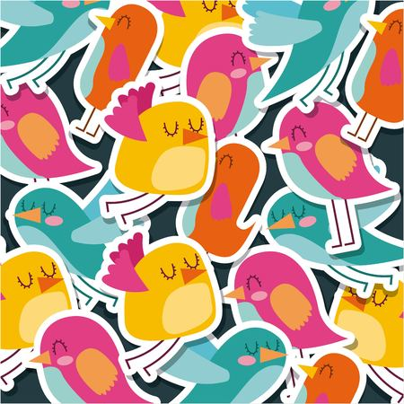 cute birds cartoon animal pattern walpaper decoration icon vector ilustration